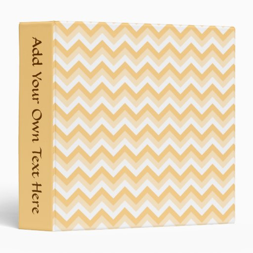 Zigzag in warm tan, beige and white. 3 ring binder