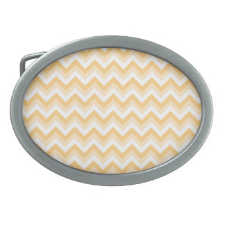Zigzag in warm tan, beige and white. oval belt buckles