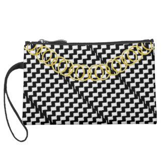 Zigzag Luxury Sueded Black & White Baguette Suede Wristlet