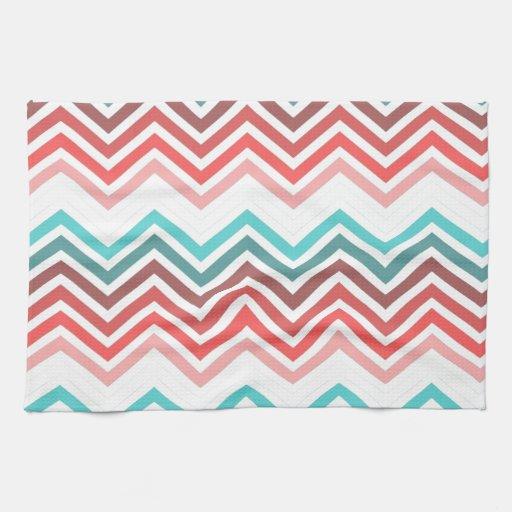 Zigzag moderno, de moda, colorido del galón toalla de cocina