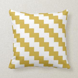Zigzag moderno en mostaza y blanco almohada