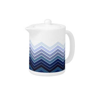 Zigzag Monochromatic Blue Colors Tea Pot