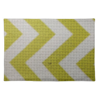 zigzag mustard yellow white pattern woven elegant placemat
