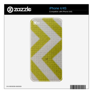 zigzag mustard yellow white pattern woven elegant decals for iPhone 4S