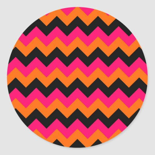 Zigzag negro anaranjado rosado etiquetas redondas