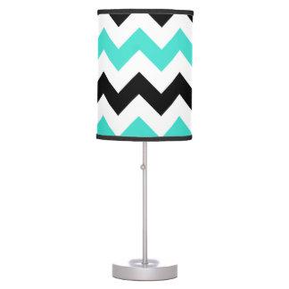 Zigzag negro blanco de la turquesa lámpara de escritorio