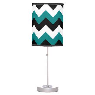 Zigzag negro del blanco y del trullo lámpara de mesilla de noche