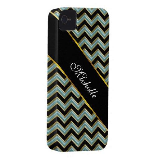 Zigzag negro del trullo del oro iPhone 4 cárcasa