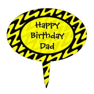 Zigzag negro y amarillo del papá del feliz cumplea palillos de tarta