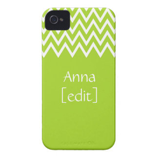 Zigzag On Green With Your Name - iPhone 4 Case