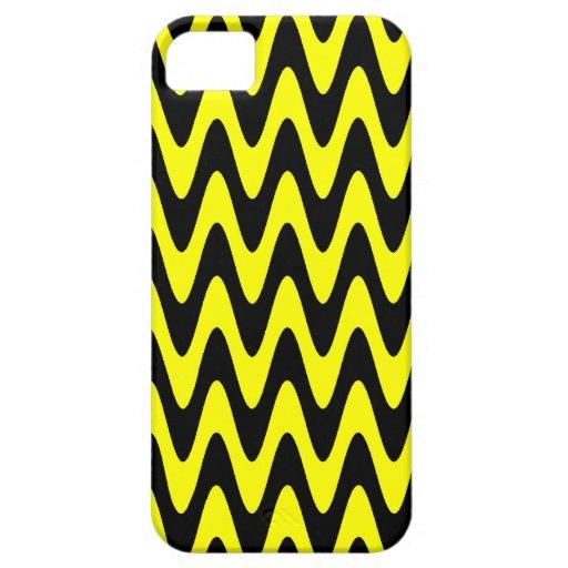 Zigzag ondulado negro y amarillo iPhone 5 fundas