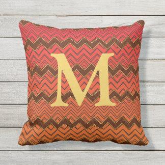 Zigzag Orange Yellow Red & Brown Monogram Pillow