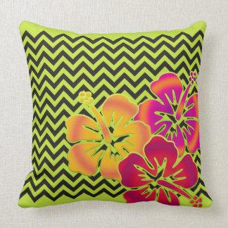 ZIGZAG pattern - black + hibiscus blooms Throw Pillow