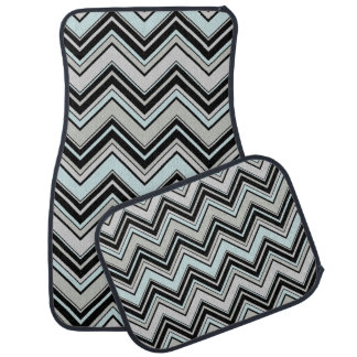 Zigzag Pattern, Chevron Pattern - Black Blue Gray Car Floor Mat