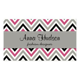 Zigzag Pattern, Chevron Pattern - Gray Black Pink Business Card