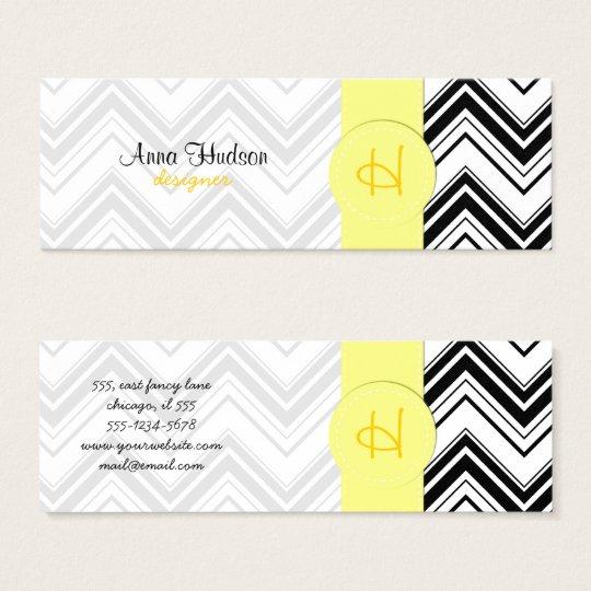 Zigzag Pattern, Chevron Pattern - White Black Mini Business Card