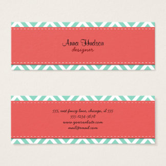 Zigzag Pattern, Chevron Pattern - White Blue Mini Business Card