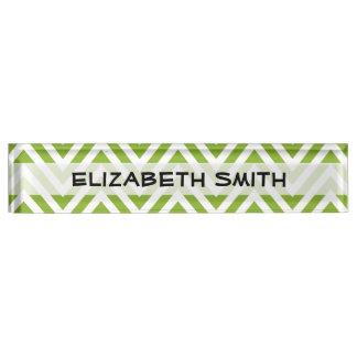 Zigzag Pattern, Chevron Pattern - White Green Nameplate