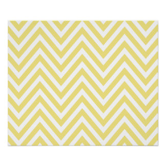 Zigzag Pattern, Chevron Pattern - White Yellow Poster
