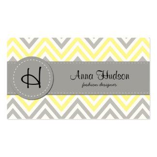 Zigzag Pattern, Chevron Pattern - Yellow Gray Business Card