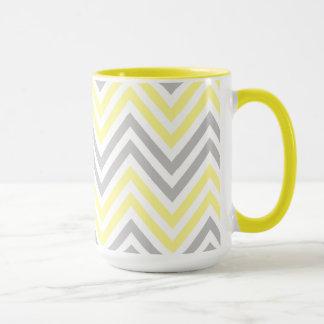 Zigzag Pattern, Chevron Pattern - Yellow Gray Mug