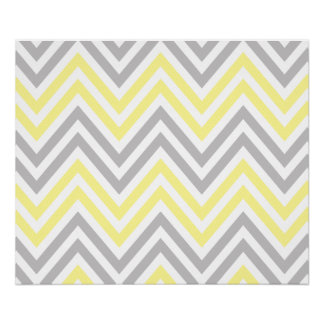 Zigzag Pattern, Chevron Pattern - Yellow Gray Poster