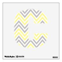 Zigzag Pattern, Chevron Pattern - Yellow Gray Wall Sticker