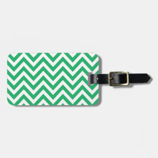 Zigzag Pattern Emerald Spring Green and White Chev Bag Tag
