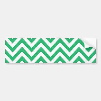 Zigzag Pattern Emerald Spring Green and White Chev Bumper Sticker