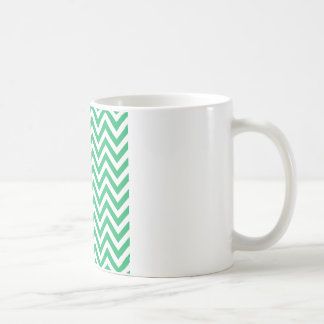 Zigzag Pattern Emerald Spring Green and White Chev Coffee Mug