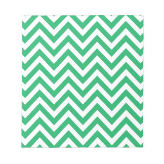 Zigzag Pattern Emerald Spring Green and White Chev Notepad