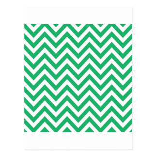 Zigzag Pattern Emerald Spring Green and White Chev Postcard