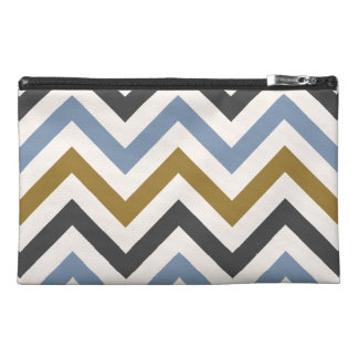 Zigzag Pattern Gold Grey & Blue on Cream Travel Accessory Bag