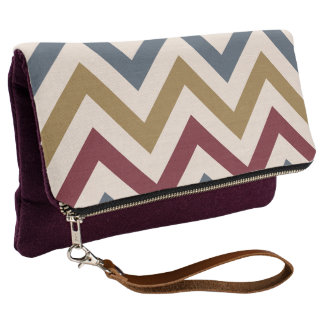 Zigzag Pattern Gold Red & Blue on Cream Clutch