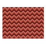 Zigzag Pattern in Cool Shades of Red Postcard