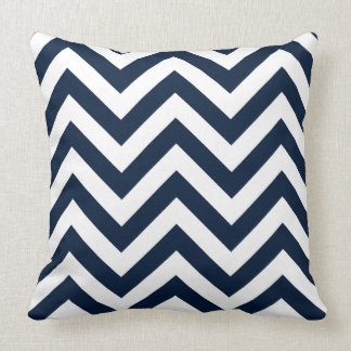 Zigzag Pattern Navy Blue & White Pillow