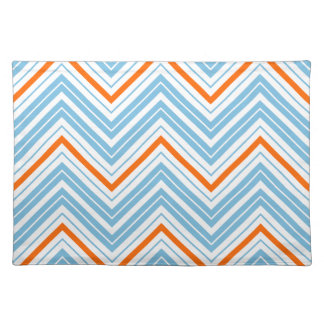 Zigzag Pattern Orange White Blue Placemats