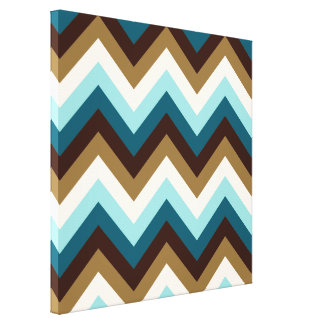 Zigzag Pattern Teals, Brown, Gold & Cream Canvas Print