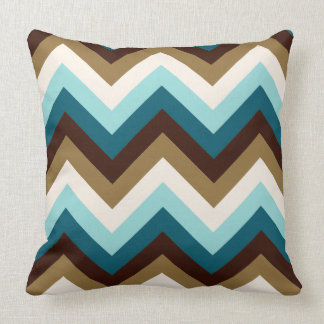 Zigzag Pattern Teals, Brown, Gold & Cream Throw Pillow