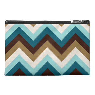 Zigzag Pattern Teals, Brown, Gold & Cream Travel Accessory Bag