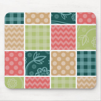 Zigzag, Polka Dots, Gingham - Green Red Blue Mouse Pad