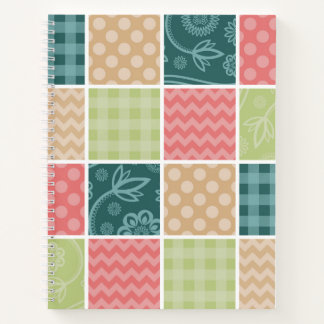 Zigzag, Polka Dots, Gingham - Green Red Blue Notebook