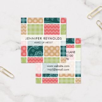 Zigzag, Polka Dots, Gingham - Green Red Blue Square Business Card