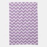 Zigzag púrpura Chevron de la violeta africana Toalla De Cocina