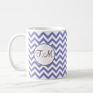 Zigzag púrpura con monograma taza de café