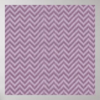 Zigzag púrpura de Ikat Chevron de la lila del Póster