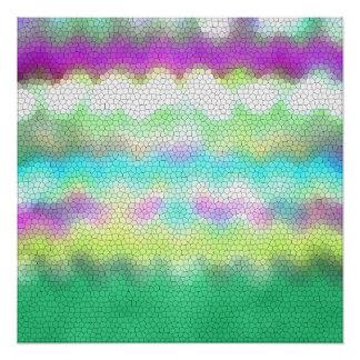 Zigzag púrpura verde de Ikat Chevron del trullo Perfect Poster