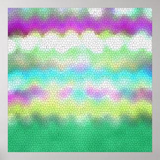 Zigzag púrpura verde de Ikat Chevron del trullo Póster
