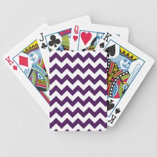 Zigzag púrpura y blanco barajas