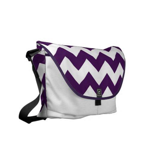 Zigzag púrpura y blanco bolsas messenger
